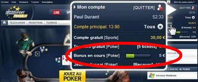 évolution du bonus chez eurosport poker